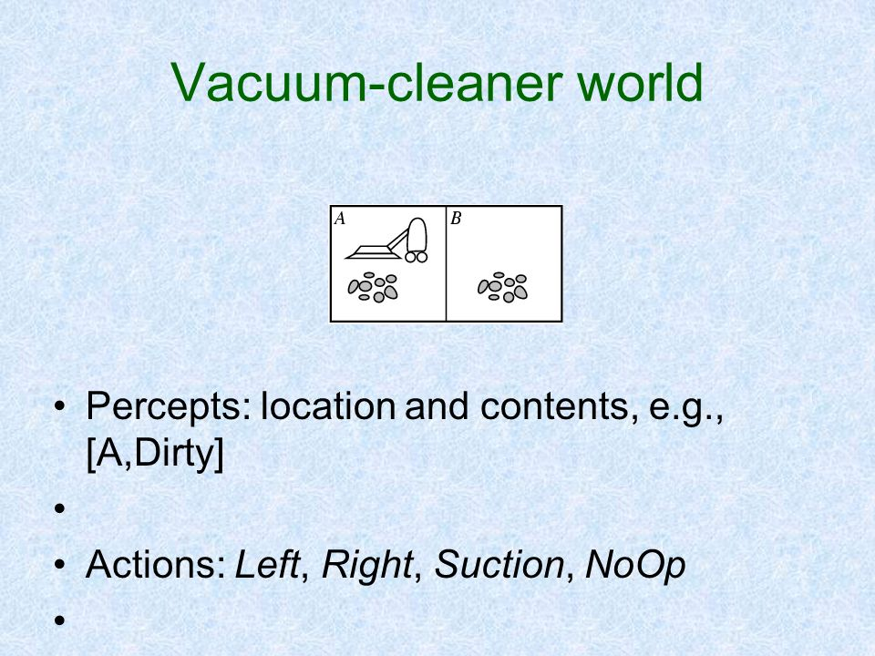 Vacuum-cleaner world Percepts: location and contents, e.g., [A,Dirty]